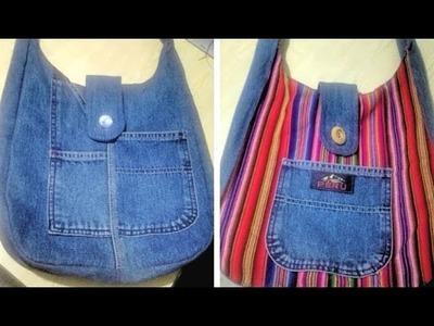 Reciclaje de Jeans: Bolso Reversible con Manta Andina