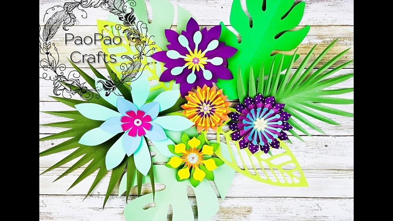 Arreglo Floral Tropical Flores De Papel Moldes Gratis How