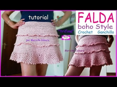 "Bella Falda  BOHO STYLE Ganchillo Crochet  SIN COSTURAS! ""Trifina"" Tutorial por Maricita Colours"