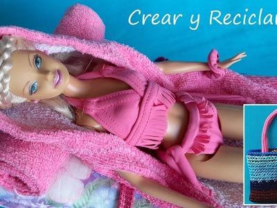 Bolso, toalla y bata de piscina para muñecas