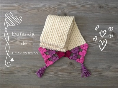 Bufanda de corazones a crochet