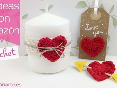 Corazón de ganchillo: 10 ideas para San Valentín. Crochet heart: 10 ideas for Valentine's Day.