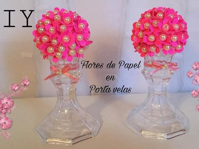 DIY.Paper Flower Ball.flores de papel en portavelas.Sharis Diaz