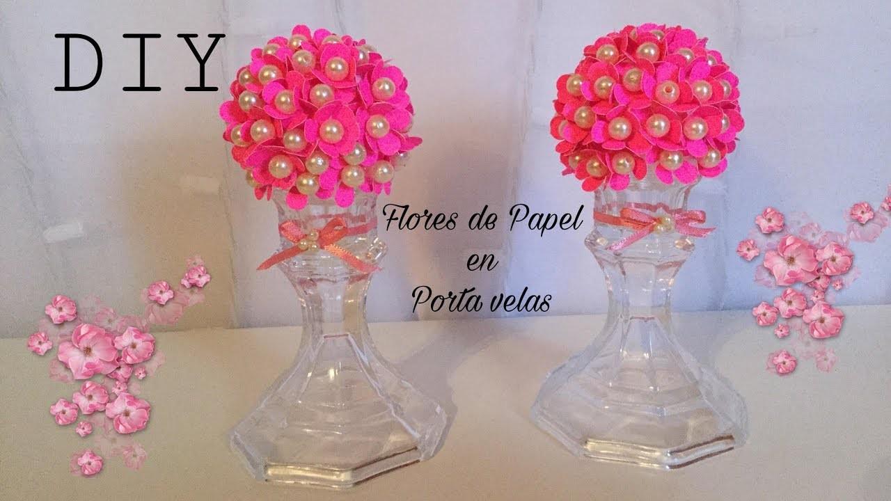 DIY.Paper Flower Ball.flores de papel en portavelas.Sharis Diaz