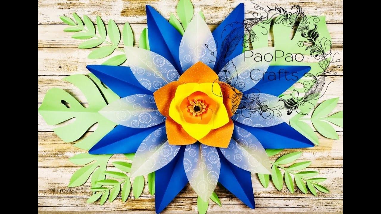 FLOR GIGANTE DE PAPEL| MOLDES GRATIS | HOW TO MAKE PAPER FLOWERS | FREE TEMPLATES