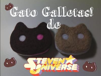 Gato Galletas de Steven Universe (Cookie Cat) en fieltro - Needle Felt