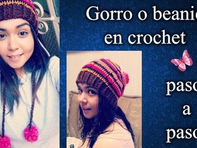 GORRO O BEANIE en crochet PASO A PASO