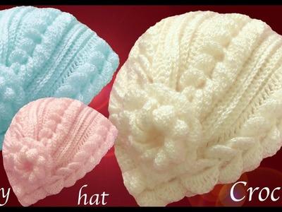 Gorros a Crochet puntos de hojas cadenas 3D con flor tejido tallermanualperu