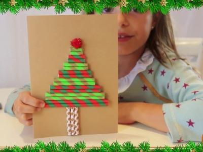 Manualidad para hacer tu tarjeta de navidad con pajitas