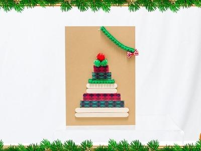 Manualidad para hacer tu tarjeta de navidad con palos de helado
