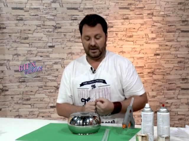 Martín Muñoz - Bienvenidas TV - Crea una frutera de hojas doradas con hotmelt.