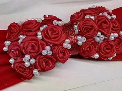 Moño con Rosas rojas. moño para día del amor y amistad. Laço fita satem
