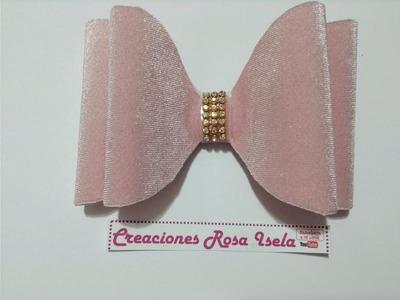 Moño rígido  de terciopelo sin molde  VIDEO No. 537 creaciones rosa isela