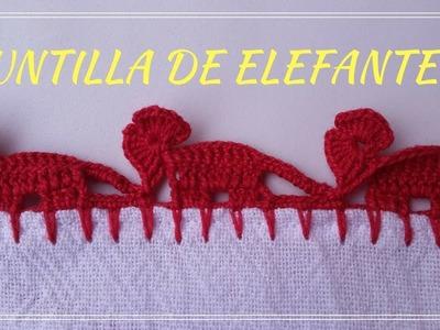 ORILLA O PUNTILLA DE ELEFANTES EN CROCHET #28