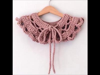 Top 10 crochet collar o cuello estilo Peter Pan tejido a mano con ganchillo