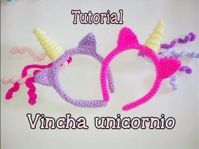 Vincha, diadema o tiara de unicornio a crochet 1.2