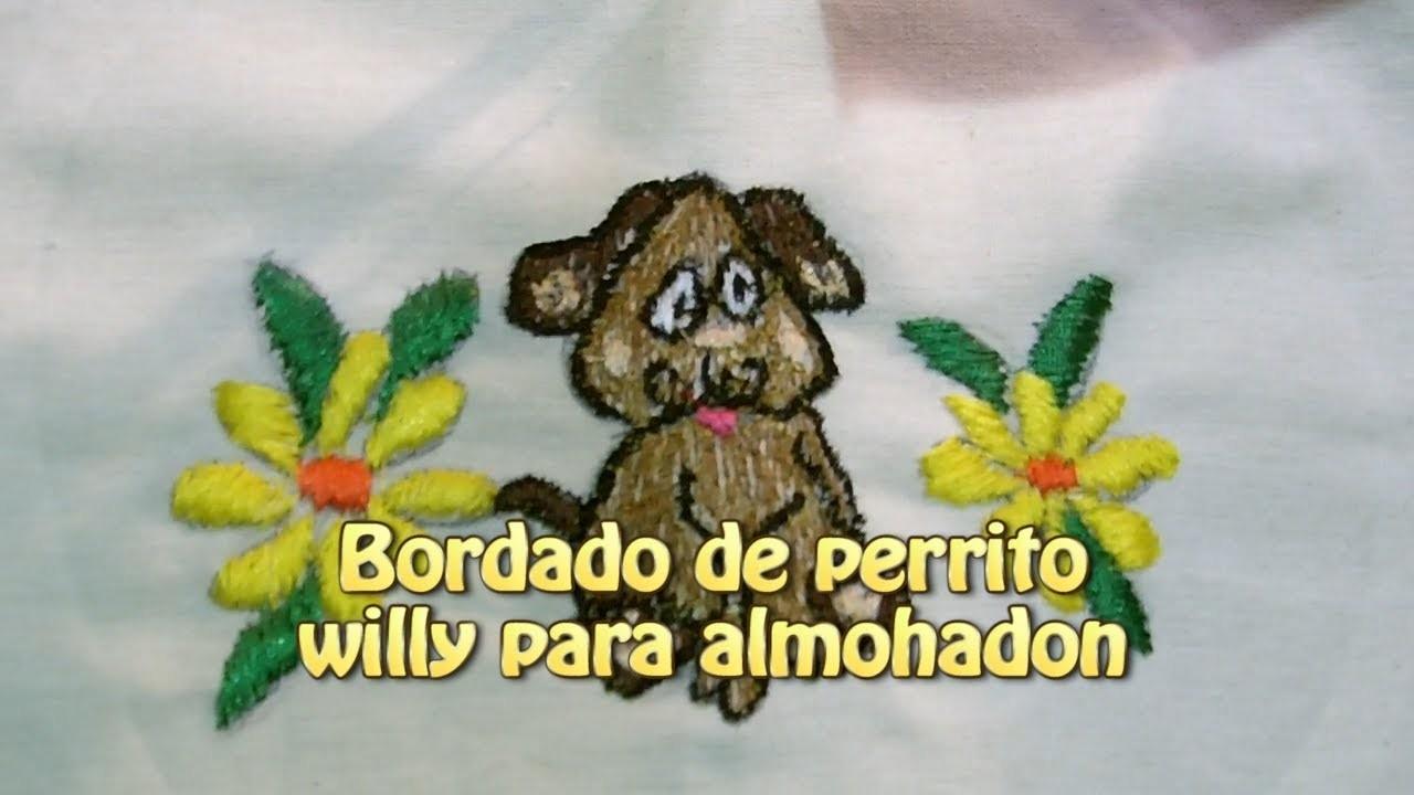 Bordado de perrito willy para almohadon |Creaciones y manualidades angeles