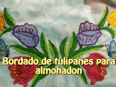 Bordado de tulipanes para almohadon|Creaciones y manualidades angeles
