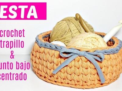 CESTA CROCHET Y PUNTO BAJO CENTRADO