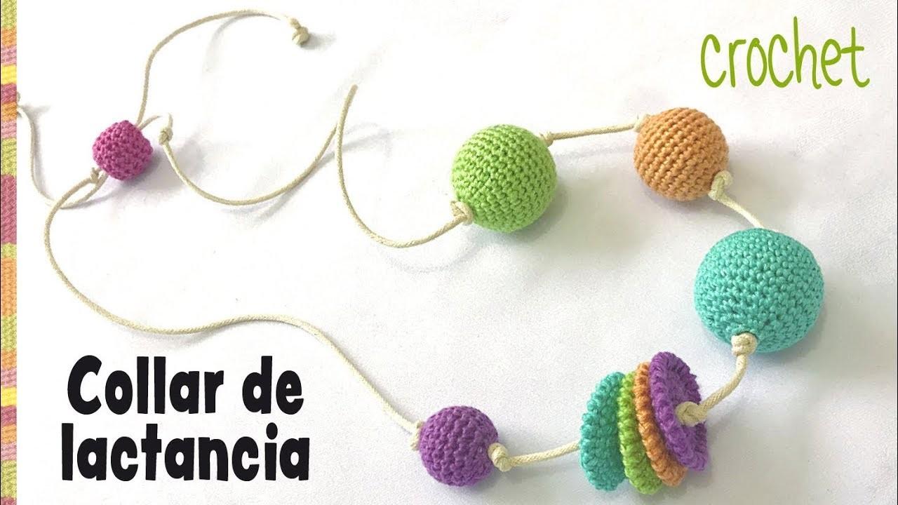 Collar de lactancia con bolitas y ruedas tejidos a crochet. Tejiendo Perú