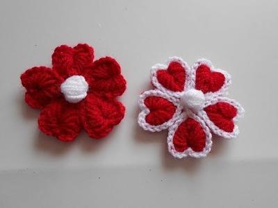 Como hacer flor a crochet para san valentin. how to make crochet flower