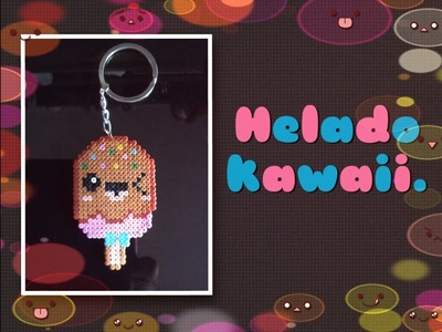 Como hacer un llavero de un helado kawaii con hama beads mini | Hama beads.