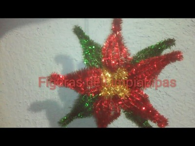Como hacer una Nochebuena mini con Limpiapipas(mini poinsettia flower with pipe cleaner)