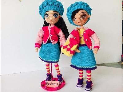 Como tejer boina muñeca Livia amigurumis by petus