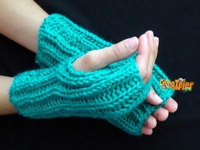 Cómo Tejer MITONES PUNTO INGLÉS - UNISEX - How to Knit Mittens - 2 agujas (480)