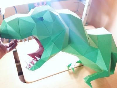 DIY cabeza de t-rex con cartulina adorno 3d-papercraft