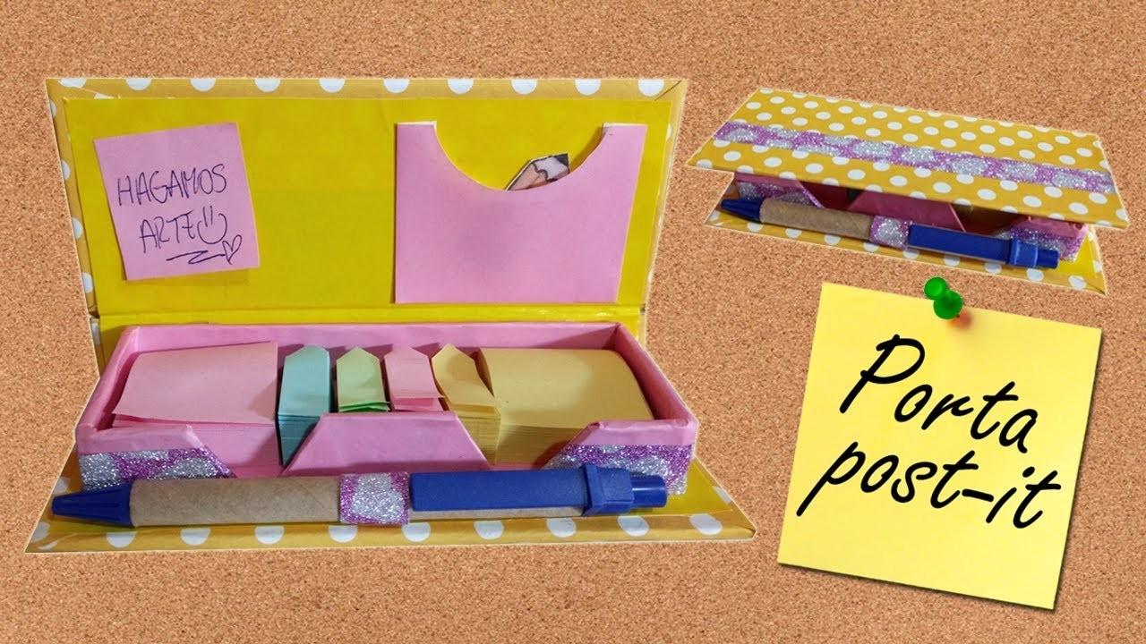 Estuche porta notitas - post it - manualidades en cartón - simple y fácil