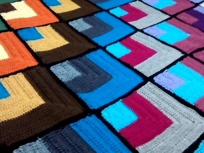 Manta de colores, cuadros a ganchillo. 2017