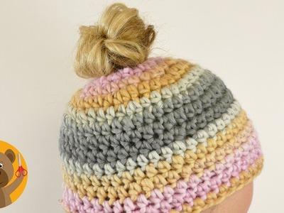 Messy Bun Hat|Teje un gorro para usar con una cola de caballo o trenza|Tutorial fácil|Rico Design