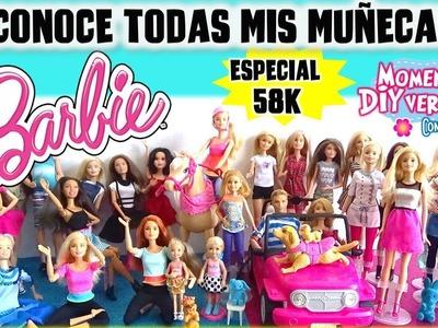 Mi COLECCIÓN de MUÑECAS Barbie y MANUALIDADES Favoritas!! ESPECIAL 58 K! P&R y SALUDITOS!!