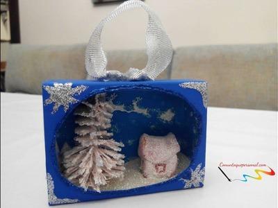 Paisaje nevado de Navidad en una caja de cerillas. DIY
