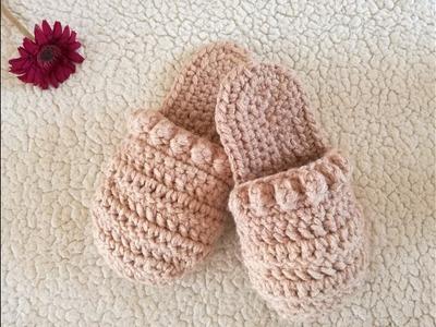 PANTUFLAS Tejidas a Crochet  ( talla 23 a 24 cm)