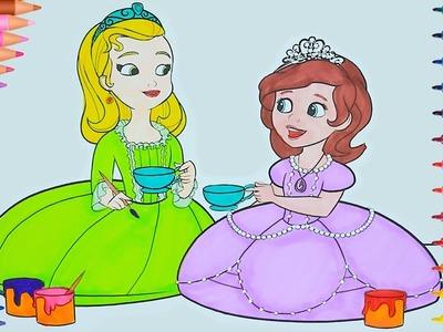 Princesas de pintar - Fiesta del té   Dibujos Para Niños   Learn Colors