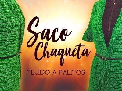 SACO CHAQUETA TEJIDO A PALITOS | Canela♥