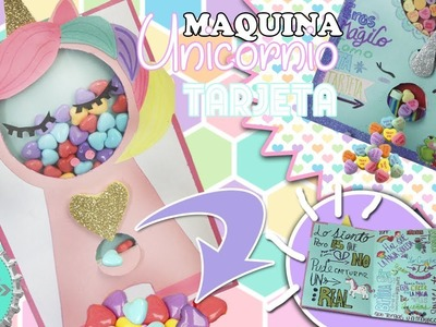 TARJETA con MAQUINA UNICORNIO de DULCES que si FUNCIONA! ( y es RELLENABLE) SAN VALENTIN.FLORITERE