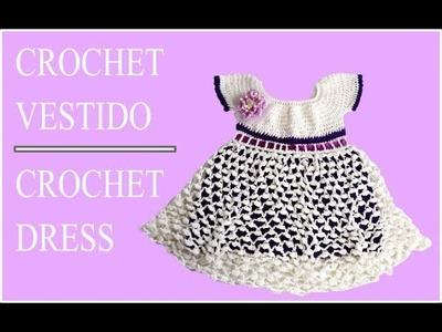 Vestido para bebe en crochet de 3 meses a un año
