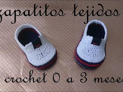 Zapatito tejido a crochet -diseño nauticos- bebe-