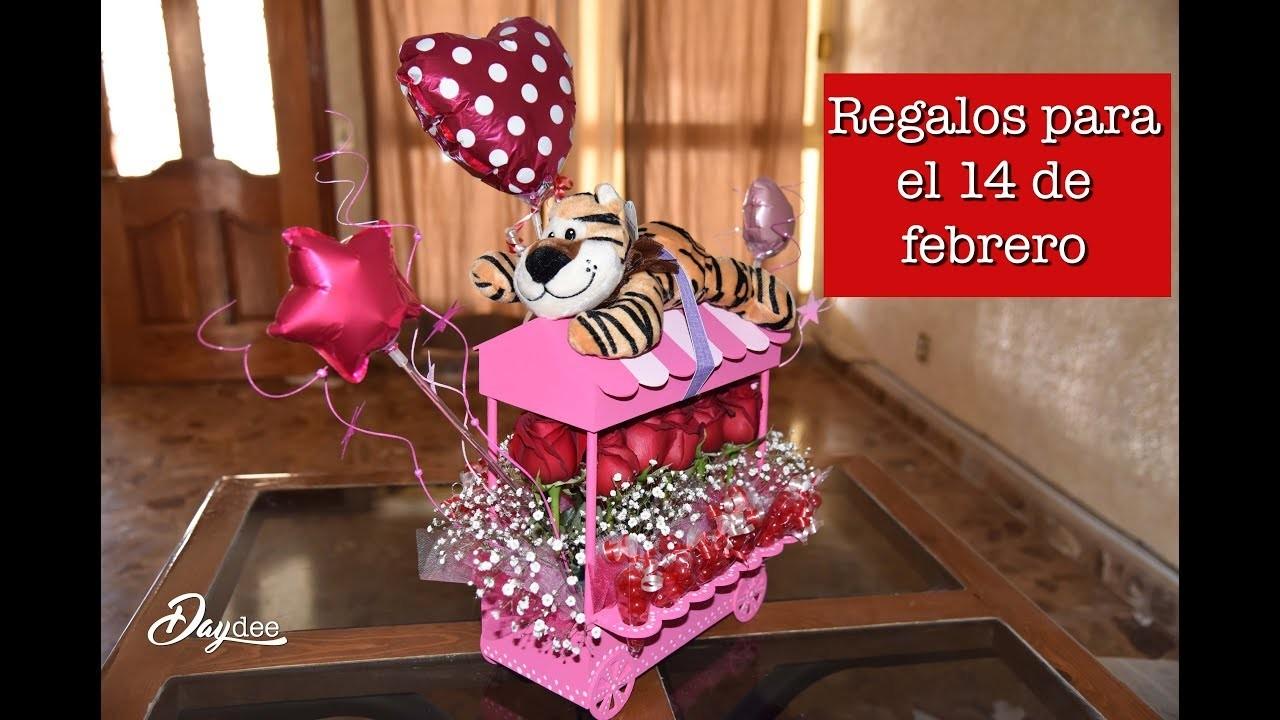 Arreglos para el 14 de febrero. carreta de dulces y flores