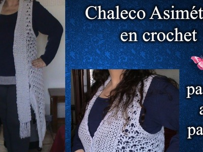 CHALECO ASIMETRICO  2XL en crochet PASO A PASO 1de 3