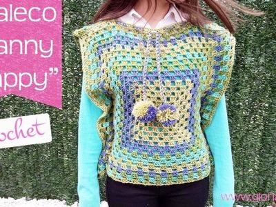"Chaleco granny de ganchillo ""happy"". Crochet granny waistcoat."