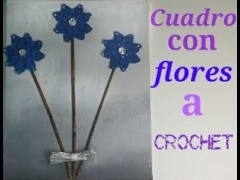 Cuadro con flores a crochet
