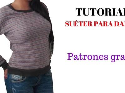 DIY  Como hacer un suéter de dama corte y confección