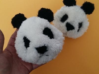 """""""DIY"""" How to Make a Panda Pompom - Tutorial ,Panda con un Solo Pompón"""