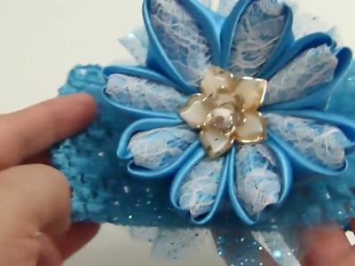 Flores de Tela raso  para decorar Balacas de Bebe,Satin Fabric Flowers