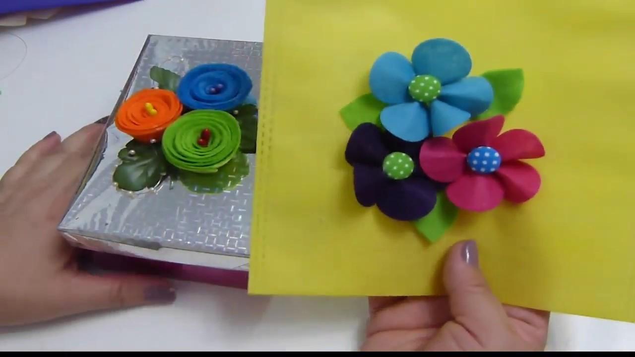 Manualidades con Fieltro para San Valentin, Cajas de carton y Bolsas decoradas con flores