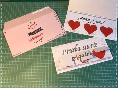 ♥  Manualidades para San Valentín, Tarjeta Rasca y Gana!  ♥